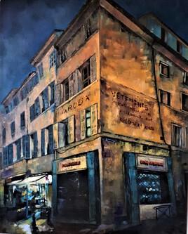peinture urbaine huile sur bois Aix en Provence