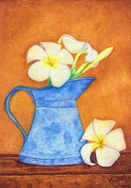Broc bleu et lotus