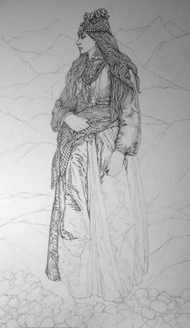 Femme en robe (verte) 3 me  Étape