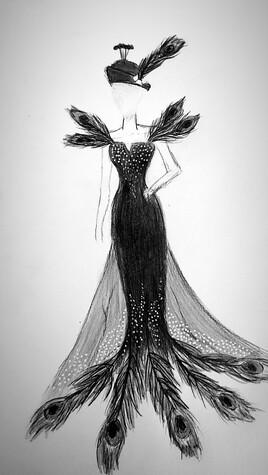 Robe de paon Noir et blanc