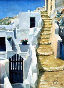 Santorin - Oia - Escalier
