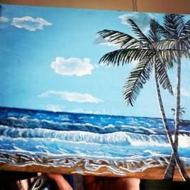Plage tropicale à l'acrylique.