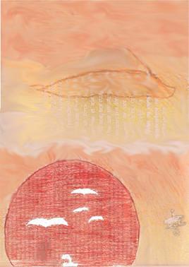 Soleil rouge et ciel orange
