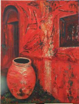 Facade rouge avec vase en terre 2015 de MERCIE  Jean Pierre