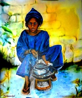 Djeneba Traoré préparant du capitaine sauce tion tion