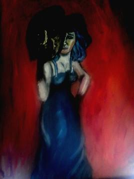 La femme a la robe bleu