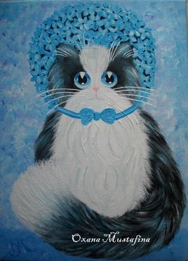 Peinture acrylique Chat Lady Hortensia