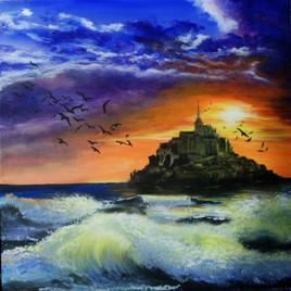 Le mont saint michel à l'acrylique