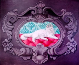 """""""Sa majesté"""", portrait de chat techniques mixtes"""