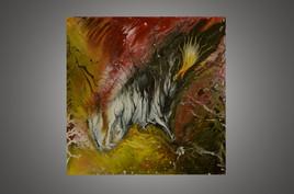 Tableau abstrait à la peinture acrylique fluide style art déco : Envolade