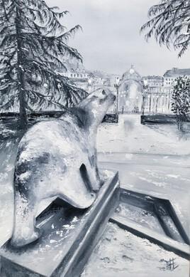 Soir enneigé sur l'ours Pompon à Dijon