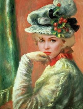 Marilyn revisite la jeune fille au chapeau cerises.. Renoir ..