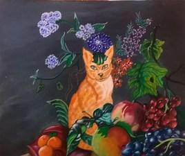nature morte au chat