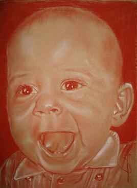 Portrait bébé 1 an à la sanguine