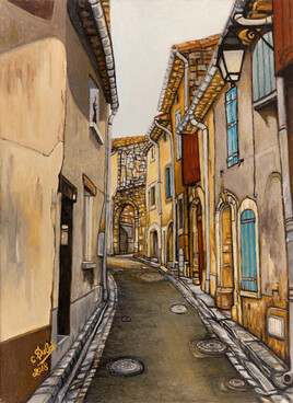 Puimisson oil on wooden panel title the street around the castle