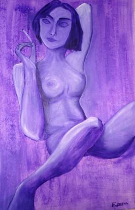 femme nue à  la cigarette