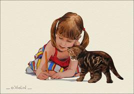 La petite fille au chaton n°2