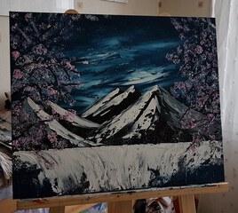 Cascade et cerisiers japonais
