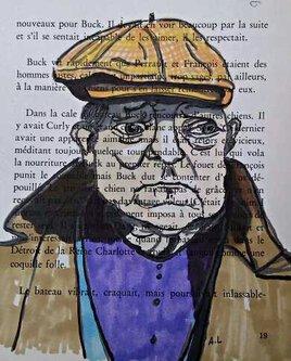 Portrait Jean Gabin sur page de livre