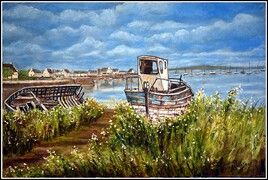 épave de bateau, nouvelle version d'après les conseils sur le ciel de mon amie peintre IVALDI