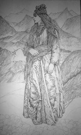 Femme en robe (verte) 4 me  Étape