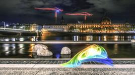 Lyon, lightpainting sur les quais du Rhône