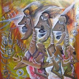 Tableau d'art africain : Les adoptantes.