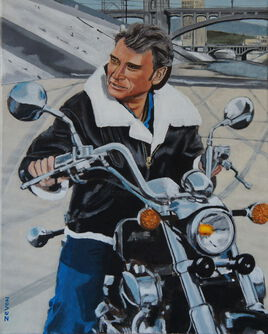 Johnny Hallyday sur la moto