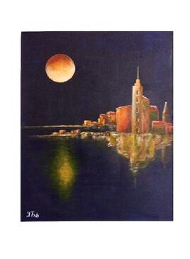 Lune sur le port