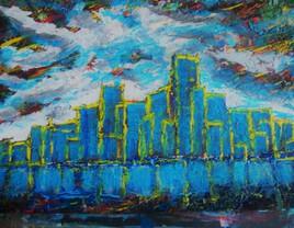VILLE BLEUE par artiste peintre contemporain AARON SZYJKA