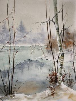 Peinture Dégel sur l'étang