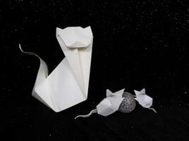 chat en souris en origami.