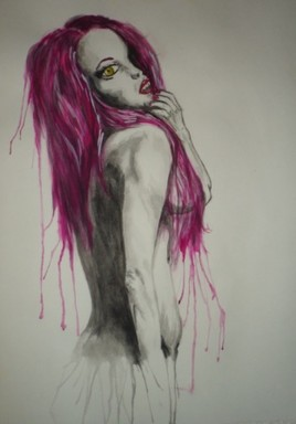 femme de dos aux cheveux violets