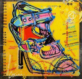 Chaussure jaune 80x77cm
