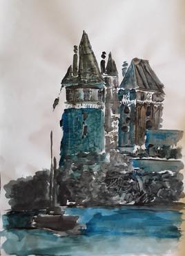 juste une mâture à pied du château