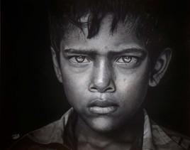 Peinture Regard d'enfant indien