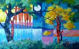 Peinture un soir ocre et bleu