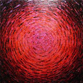Peinture au couteau : Éclat de couleur rose orange rouge.