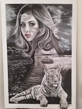 Femme et tigre