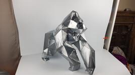 Sculpture gorilla zinc et cuivre
