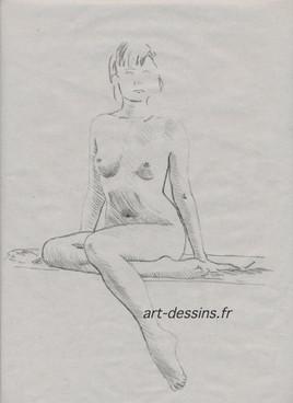 nu, assise / dessin au crayon