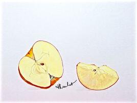 Peinture La pomme coupée / Painting A cut apple