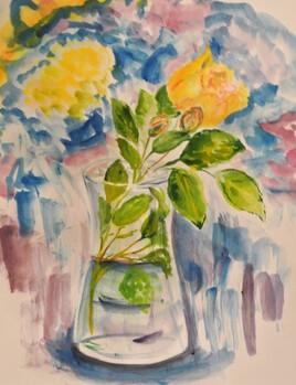brin de rose jaune