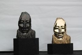 masque en bronze couple