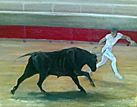 Peinture razeteur et taureau camargue
