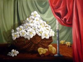 panier de fleurs et poussins