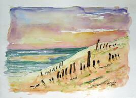 La dune du Pilat  au soleil couchant (cv255)