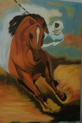 Touareg à cheval au grand galop