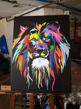 lion muticolore toile 60*50 cm