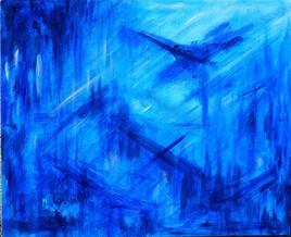 """Vide atelier - Peinture monochrome sur toile - """"Abstraction bleue""""."""